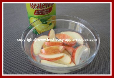 Picture of Sprinkling Lemon Juice on Apple Fruit