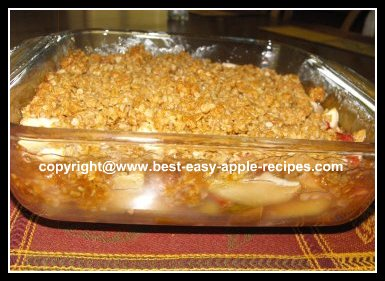 Homemade Rhubarb Apple Crisp with Oatmeal Topping