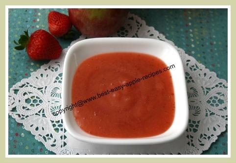 Homemade Strawberry Applesauce for topping or dessert or sidedish or homemade baby food