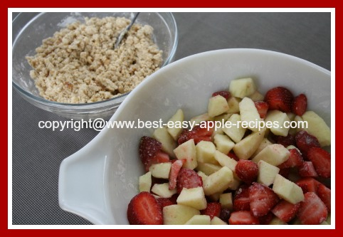 Ingredients for Apple and Strawberries Crumble Dessert Recipe