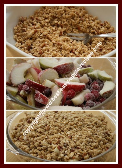 Making a Cranberry Apple Crisp Dessert