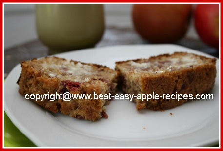 Slice of Homemade Apple Raspberry Bread