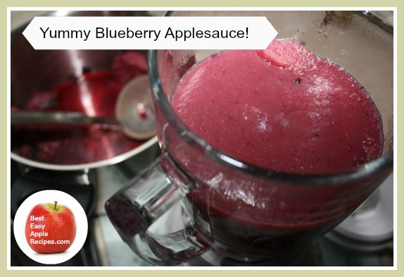 Blending Blueberries and Apples together to make a yummy fruit sauce!