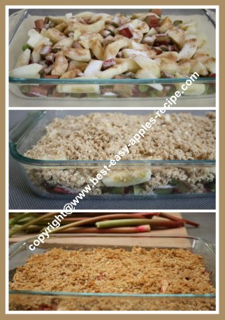 Making a Homemade Rhubarb Apple Crumble Dessert with Oatmeal Topping