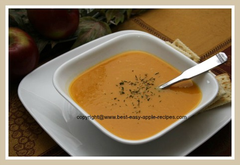 Homemade Butternut Squash Cream Soup with Apples