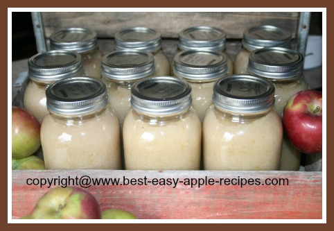 Jars of Canned Preserves of  Homemade Applesauce